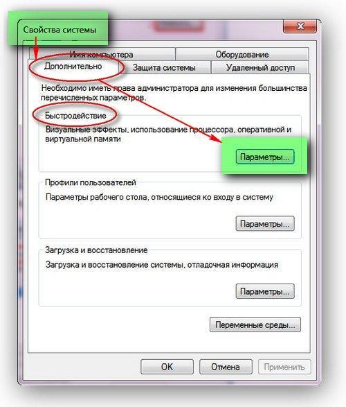 Изменение размера файла подкачки. Свойства системы -> Параметры   Интернет-профи